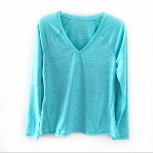 Ideology Turquoise V-neck Long Sleeve Workout Top